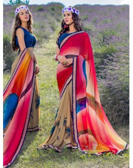 Casual Wear Multi-Colour Georgette Saree  - 78601