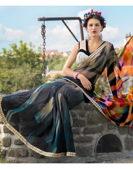 Ethnic Wear Black Georgette Saree  - 78602