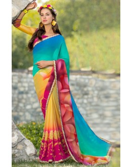 Ethnic Wear Multi-Colour Georgette Saree  - 78604