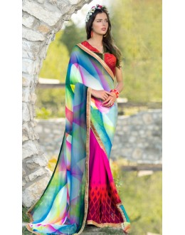 Casual Wear Multi-Colour Georgette Saree  - 78605