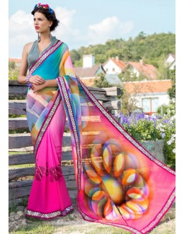 Festival Wear Pink Georgette Saree  - 78606