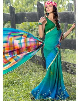 Casual Wear Multi-Colour Georgette Saree  - 78607