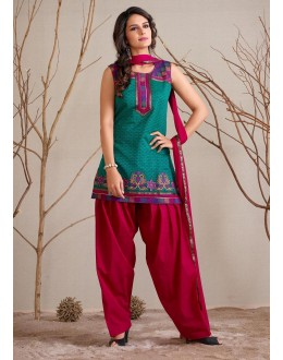Festival Wear Readymade Green Patiyala Suit - 79794