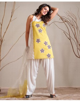Ethnic Wear Readymade Yellow Patiyala Suit - 79800