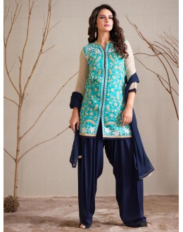 Party Wear Readymade Turquoise Patiyala Suit - 79801