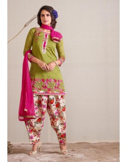 Festival Wear Readymade Green Patiyala Suit - 79802