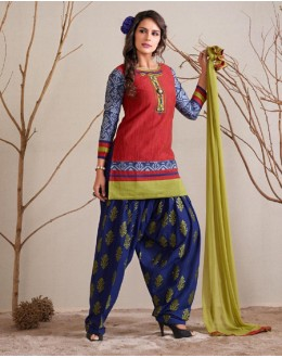 Office Wear Readymade Red Patiyala Suit - 79804