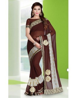 Party Wear Brown Georgette Saree  - 78681