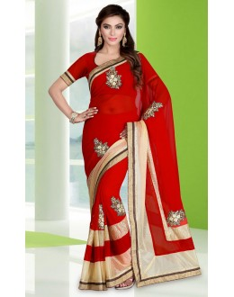 Party Wear Red Georgette Embroidery Saree  - 78682