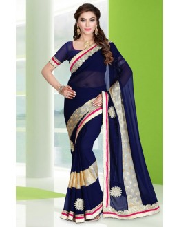 Festival Wear Royal Blue Georgette Saree  - 78683