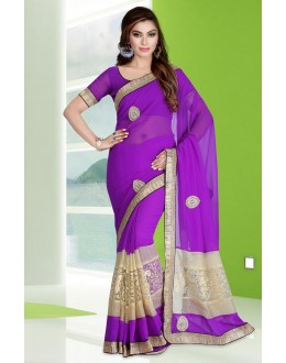 Ethnic Wear Purple Georgette Saree  - 78684
