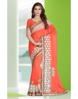Festival Wear Orange Georgette Embroidery Saree  - 78686