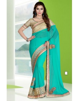 Festival Wear Turquoise Georgette Embroidery Saree  - 78687