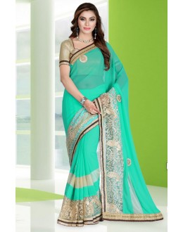 Party Wear Turquoise Georgette Embroidery Saree  - 78689