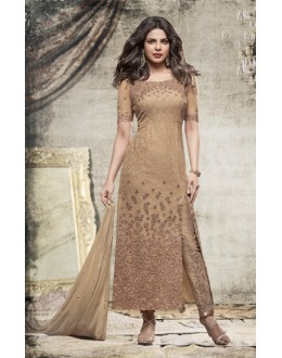 Priyanka Chopra In Brown Net Slit Salwar Suit  - 78766