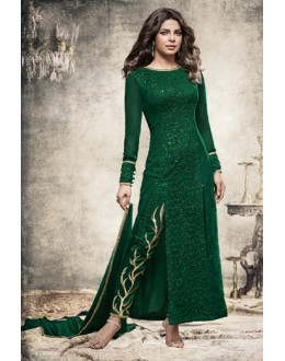 Priyanka Chopra In Green Georgette Slit Salwar Suit  - 78767