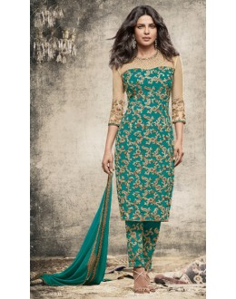 Priyanka Chopra In Green Georgette Salwar Suit  - 78771