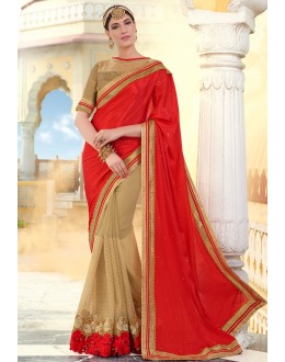 Ethnic Wear Red & Brown Georgette Saree  - 78895