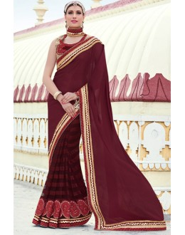 Party Wear Maroon Chiffon Embroidery Saree  - 78896