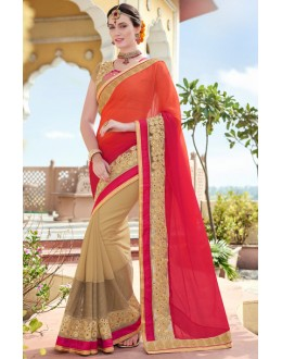 Party Wear Multi-Colour Chiffon Embroidery Saree  - 78898