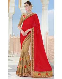 Festival Wear Red & Brown Chiffon Saree  - 78900