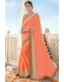 Ethnic Wear Orange Chiffon Embroidery Saree  - 78901