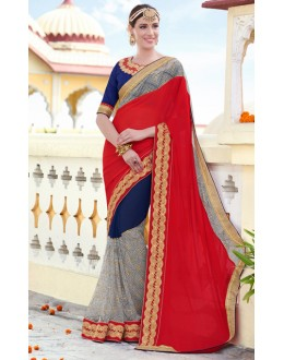 Ethnic Wear Red & Blue Chiffon Saree  - 78902