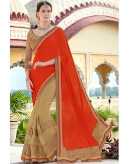 Ethnic Wear Orange & Beige Georgette Saree  - 78903