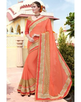 Party Wear Orange Chiffon Embroidery Saree  - 78904