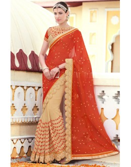 Wedding Wear Red & Beige Chiffon Saree  - 78905