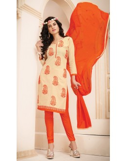 Ethnic Wear Beige & Orange Cotton Salwar Suit  - 78929