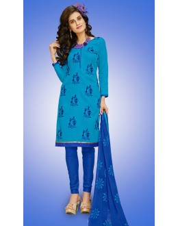Office Wear Aqua Blue Cotton Salwar Suit  - 78931