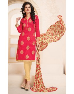 Office Wear Pink & Beige Cotton Salwar Suit  - 78932