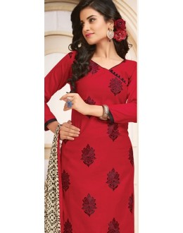 Office Wear Red & Black Cotton Salwar Suit  - 78935