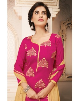 Festival Wear Pink & Beige Cotton Salwar Suit  - 78937