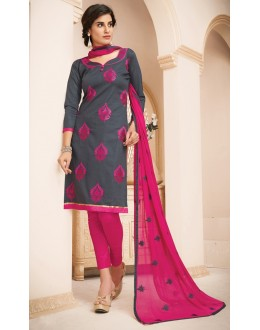 Office Wear Grey & Pink Cotton Salwar Suit  - 78938