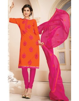 Casual Wear Orange & Pink Cotton Salwar Suit  - 78939
