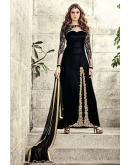Party Wear Black Velvet Slit Salwar Suit  - 78941