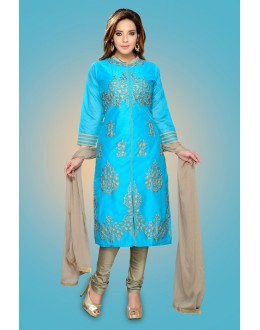 Ethnic Wear Readymade Sky Blue Chanderi Silk Salwar Suit - 78973