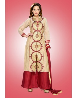 Party Wear Readymade Beige Chanderi Silk Palazzi Suit - 78975