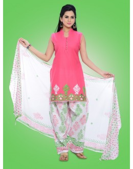 Office Wear Readymade Pink Cotton Patiyala Suit - 78976