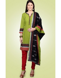 Festival Wear Readymade Green Cotton Salwar Suit - 78980