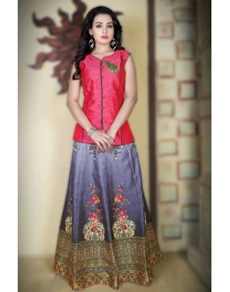 Festival Wear Grey & Pink Satin Lehenga Choli - 78988