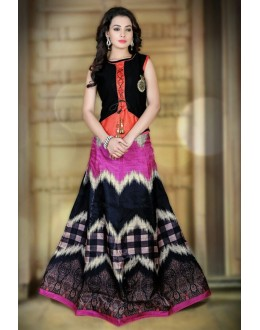 Ethnic Wear Pink & Black Satin Lehenga Choli - 78989