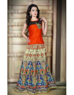 Traditional Multi-Colour Satin Lehenga Choli - 78990
