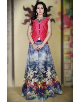 Traditional Blue & Pink Satin Lehenga Choli - 78991