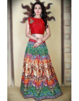 Party Wear Multi-Colour Satin Lehenga Choli - 78992