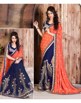 Ethnic Wear Orange & Blue Georgette Saree  - 79053