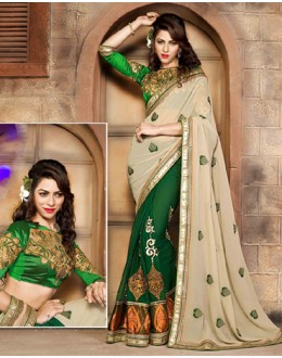 Festival Wear Beige & Green Georgette Saree  - 79054