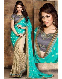 Party Wear Turquoise & Beige Georgette Saree  - 79056